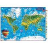 Harta Lumii pentru copii, proiectie 3D, 450x330mm (3DGHLCP45)