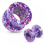 Cumpara ieftin Tunel pentru ureche din oţel de 316L, stropit cu violet, roz, albastru şi alb - Lățime: 10 mm