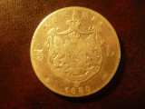 Moneda 5 lei 1880 Carol I argint , fara semnatura , cal. medie- buna