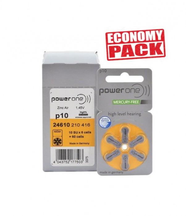Baterii PowerOne 10 pentru aparate auditive Economy Pack 60 baterii