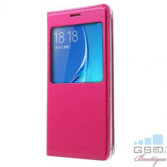 Husa Flip Cu Geam Samsung J5 J510 2016 Roz