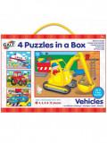 Set 4 puzzle-uri Vehicule Galt, 4, 6, 8, 12 piese, 3 ani+