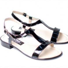 Sandale dama din piele naturala lacuita - S16NLAC, 35 - 41, Negru