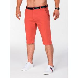 Pantaloni scurti pentru barbati portocaliu casual model de vara slim fit buzunare laterale P402