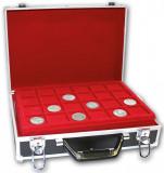 Valiza pentru monede cu 8 tavi in catifea rosie Black Special, SAFE