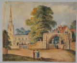 Veche acuarela peisaj cu biserica