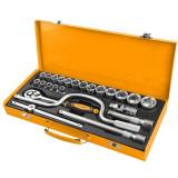 Set chei tubulare de 1/2 inch Cr-V Tolsen, 26 piese/set, cutie otel inclusa