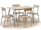 Set masa din MDF si metal + 4 scaune Modus Stejar Sonoma / Crom, L110xl72xH75 cm