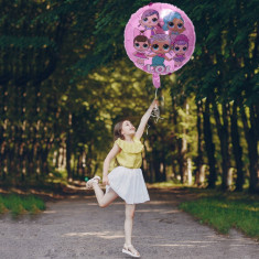 Balon folie LOL Surprise, diametru 44 cm, roz, aer sau heliu
