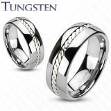 Inel argintiu din tungsten, cu un model de fire răsucite, 6 mm - Marime inel: 50