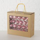 Set 42 globuri pentru brad, din sticla Christmas Ball Roz, Ø5 cm / Ø5,5 cm / Ø6,5 cm
