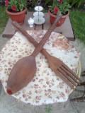 Lingura +furculita /lemn /70/cm/