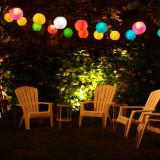 Lampion solar decorativ, iluminat LED alb rece, diametru 20 cm, protectie IP44, maner suspendare
