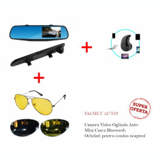 Camera Video Oglinda Full Hd + Mini Casca Bluetooth + Ochelari condus noaptea