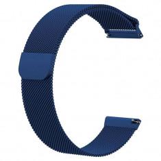 Curea tip Milanese Loop, compatibila Huawei Watch GT, telescoape Quick Release, 22mm, Albastru