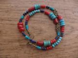 Colier unisex stil tibetan: lapis lazuri, turcoaz, coral, bronz - sarpe
