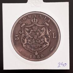 5 lei 1880 - Kullrich pe cerc