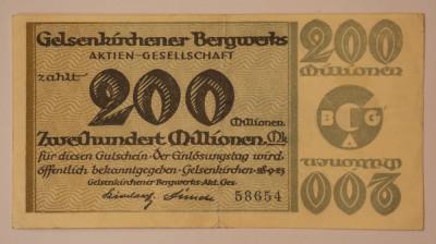 200 millionen mark, 1923 Notgeld Germania - Gelsenkirchener Bergwerks-AG foto