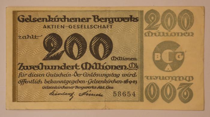 200 millionen mark, 1923 Notgeld Germania - Gelsenkirchener Bergwerks-AG
