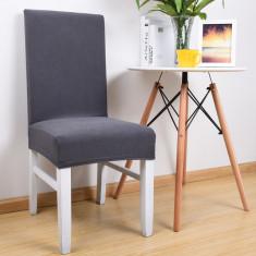 Set 4 huse scaun universale, elastice pentru scaunele de masa gri