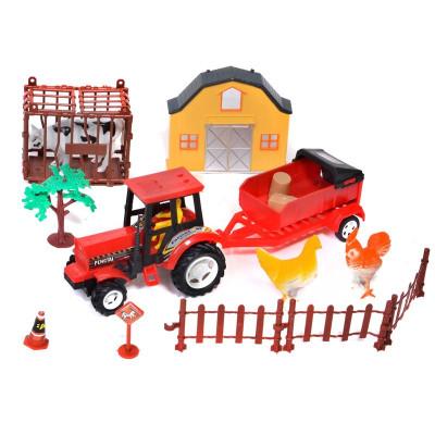 Tractor cu remorca Farm Set, animale incluse foto