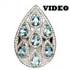 SUPERB! inel argint 925 antic cu topaze naturale!! placat aur alb