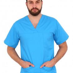 Bluza turquoise unisex cu anchior in forma V cu trei buzunare aplicate