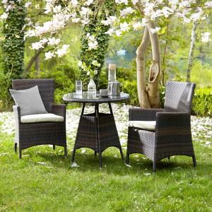 Set de 2 scaune Paradise Lounge,polyratan, maro