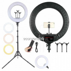 Ring Light Lampa Circulara LED 2700K-6500K cu Telecomanda RL18 M45