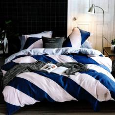 Lenjerie de pat din Bumbac alba cu dungi albastre HX 28, 230x250 cm, Set complet