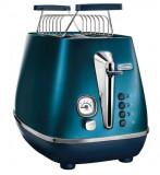 Prajitor de paine De'Longhi Distinta CTI2103.BL, 900 W, 2 felii, control electronic rumenire, suport pentru chifle (Albastru/Inox)