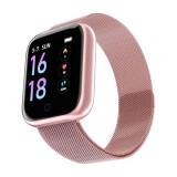 Ceas SmartWatch roz si bratara fitness 2 in 1 SMWatch10 cu functii notificari retele sociale, ritm cardiac, camera foto la distanta, respinge apel, pe