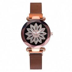 Ceas dama GENEVA CS1031, model Starry Sky, bratara magnetica, elegant, maro