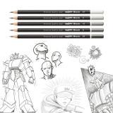 Set 5 creioane cu mina grafit Carioca.