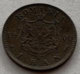 """1 Ban 1900 Cu, Romania, """"R"""" de la ROMANIA intrerupt si matrita crapata"""