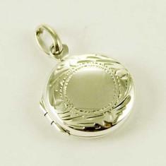 Pandantiv medalion argint rotund pentru poză