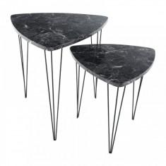 Set de 2 masute de cafea model marmura neagra/metal negru GL STOFOL