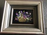 Tablou,pictura miniaturala germana,ulei pe lemn,vaza cu flori,semnata, Altul