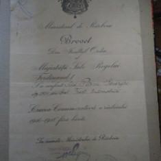 BREVET - FERDINAND - MINISTERU DE RAZBOIU - CRUCEA COMEMORATIVA 1916 - 1918