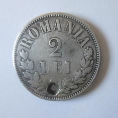 Romania 2 Lei 1873 argint,gaurita/patina frumoasa