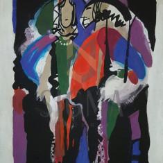 TABLOU, LIDIA MIHAESCU, PERSONAJE , ACUARELA, 2000