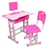 Birou cu scaunel pentru copii, reglabile, roz, fetite, din lemn, metal si PVC, pentru scoala, cu suport pentru tableta