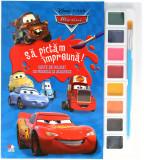 Disney. Mașini. Să pictăm împreună! Carte de colorat cu pensulă și acuarele