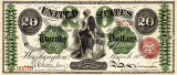 20 dolari 1863 Reproducere Bancnota USD , Dimensiune reala 1:1