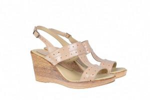 Sandale dama din piele naturala cu platforma de 8 cm S300LACBEJ