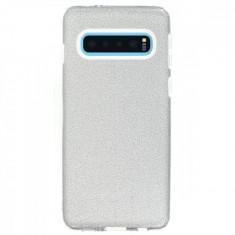 Husa Silicon Samsung Galaxy S10 Glitter Argintie