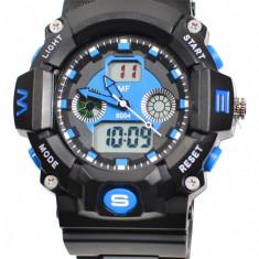 Ceas de mana barbati sport, negru cu albastru - MF9004T