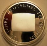A.729 GERMANIA 50 JAHRE FERNSEHEN TV 10 EURO 2002 G PROOF ARGINT .925/18g