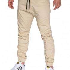 Pantaloni pentru barbati bej casual cu banda jos siret P205