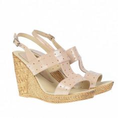 Sandale dama din piele naturala cu platforma de 10 cm S300BEJLAC